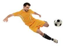 Fotbollspelare i handling Arkivfoton