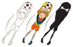 Fotbollspelare i olika färger Arkivfoto