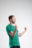 Fotbollspelare i skjorta isolerad selebratestudio Fotografering för Bildbyråer