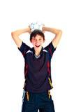 Fotbollspelare med bollen royaltyfri foto