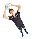 Fotbollspelare med bollen royaltyfri fotografi
