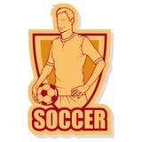 Fotbollspelare med en boll lätt redigera logofotboll till Royaltyfria Foton