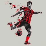 Fotbollspelare med en grafisk röd och svart likformig för slinga, vektor illustrationer