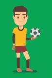 Fotbollspelare som rymmer en illustration för vektor för bollgräsplanfält Royaltyfri Foto