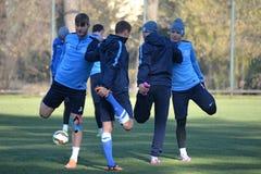 Fotbollsspelare gör sträcka ben tillsammans Royaltyfri Fotografi