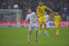 Fotbollsspelare som slåss för bollen Royaltyfria Foton