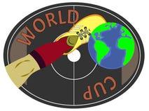 Fotbollsspelarebenet sparkar av fotbollbollen Sportsymbol, emblem eller lapp vektor illustrationer