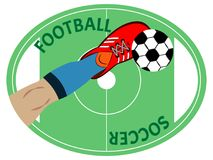 Fotbollsspelarebenet sparkar av fotbollbollen Sportsymbol, emblem eller lapp stock illustrationer