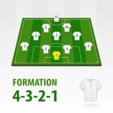 Fotbollsspelarelineups, bildande 4-3-2-1 Halv stadion för fotboll vektor illustrationer