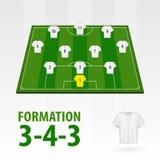 Fotbollsspelarelineups, bildande 3-4-3 Halv stadion för fotboll vektor illustrationer