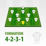 Fotbollsspelarelineups, bildande 4-2-3-1 Halv stadion för fotboll vektor illustrationer