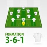 Fotbollsspelarelineups, bildande 3-6-1 Halv stadion för fotboll stock illustrationer