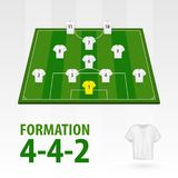 Fotbollsspelarelineups, bildandediamant 4-4-2 Halv stadion för fotboll vektor illustrationer