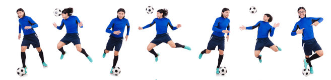 Fotbollsspelaren som isoleras på den vita bakgrunden royaltyfri fotografi