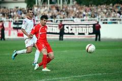 Fotbollstad derby HSK Zrinjski Mostar v FK Velez M Arkivbilder
