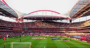 Fotbollstadion, Benfica fotbollarena, verkliga fans tränger ihop, Estadio da Luz, Lissabon arkivfoton