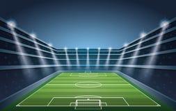 Fotbollstadion med fläckljus stock illustrationer
