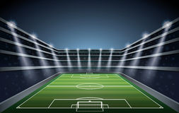 Fotbollstadion med fläckljus royaltyfri illustrationer