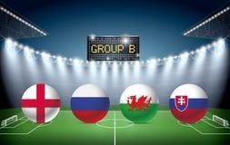 Fotbollstadion med lagflaggor för grupp B royaltyfri illustrationer