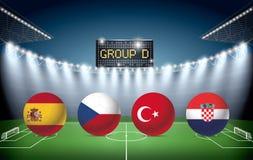 Fotbollstadion med lagflaggor för grupp D stock illustrationer