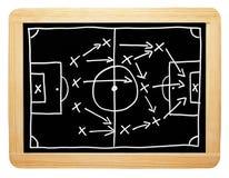 Fotbollstrategi på svart tavla Royaltyfri Fotografi