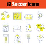 Fotbollsymbolsuppsättning royaltyfri fotografi
