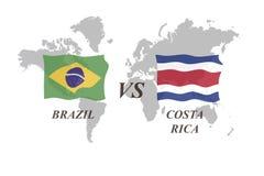 Fotbollturnering Ryssland 2018 grupp E Brasilien vs Costa Rica stock illustrationer
