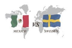 Fotbollturnering Ryssland 2018 grupp F Mexico vs Sverige stock illustrationer