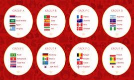 Fotbollvärldscup Ryssland 2018 grupper isolerad vektorwhite för samling flagga vektor illustrationer