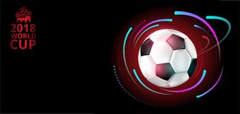 Fotbollvärldscupbakgrund 2018 med fotbollbollen Royaltyfri Fotografi