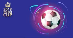 Fotbollvärldscupbakgrund 2018 med fotbollbollen Vektor Illustrationer