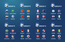 Fotbollvärldscupmästerskapet teams och grupper Det kan vara nödvändigt för kapacitet av designarbete royaltyfri illustrationer