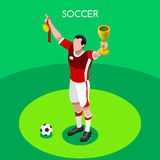 Fotbollvinnaresommar spelar den isometriska illustrationen för vektorn 3D vektor illustrationer