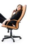 fotel interesy telefon, młodych kobiet Fotografia Stock