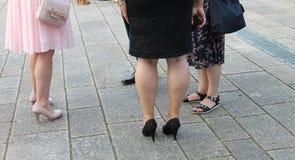 Foten av kvinnor och män alla har olika skor Royaltyfria Bilder