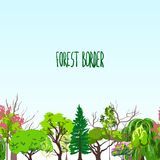 Fotest border trees sketch Stock Photography