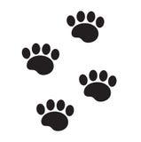 Fotfläckar av en djur symbol, lägenhet, tecknad filmstil Spår av hunden tafsar isolerat på vit bakgrund också vektor för coreldra vektor illustrationer