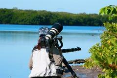 Fotógrafo de sexo femenino profesional de la naturaleza Imagen de archivo libre de regalías