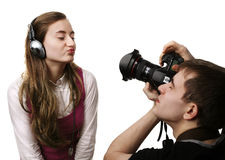 Fotógrafo e modelo Fotografia de Stock Royalty Free