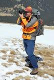 Fotógrafo en la montaña de Parang Foto de archivo libre de regalías