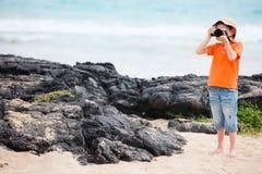 Fotógrafo joven de la naturaleza Fotografía de archivo libre de regalías