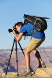 Fotógrafo na natureza da paisagem em Grand Canyon Fotos de Stock Royalty Free