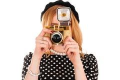 Fotógrafo novo da forma com câmera Imagens de Stock Royalty Free