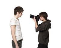 Fotógrafo y modelo Imagen de archivo libre de regalías