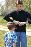 Fother with son. Little boy playing with fother Stock Photography
