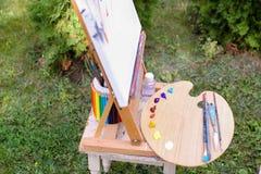 Fotoämnen av konstnärteckningen som in lokaliseras, parkerar utomhus Arkivfoto