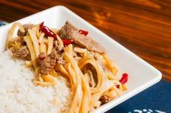 Tiros do carne e os de bambu Foto de Stock Royalty Free
