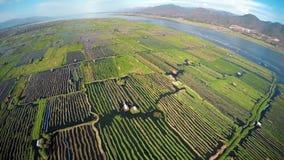 A foto aérea da flutuação jardina no lago Inle Fotos de Stock Royalty Free