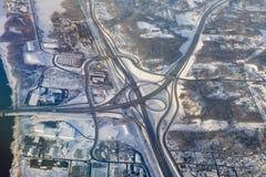 Foto aérea da interseção da estrada Imagens de Stock