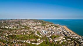 Foto aérea de Hastings, Sussex do leste, Inglaterra fotografia de stock